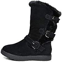 Dream Pairs Little Kid Korel Black Fur Lined Winter Snow Boots Size 11 US Little Kid/ 10 UK Child