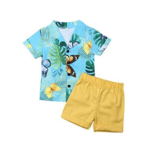 Kleinkind Säugling Baby Jungen Sommerkleidung Set Kurzarmhemd Pure Color Short 2 Pics (12-18 Monate, gelbe Shorts)