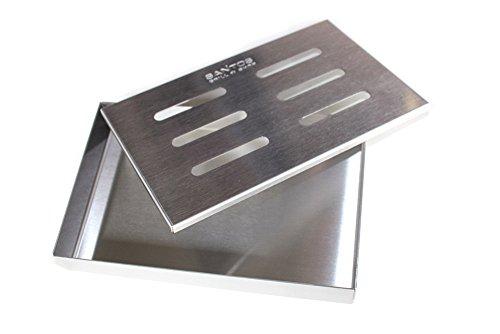 41xDEIuT3uL - Santos Smokerbox Räucherbox Edelstahl Grillzubehör für Gasgrill, Kohlegrill und Kugelgrill  Aromabox Maße 21x13x3,4 cm