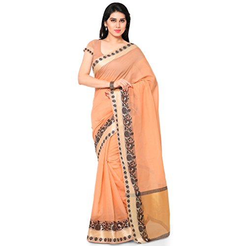 Varkala Silk Sarees Women's Chanderi Silk Saree With Blouse Piece(TD1023OR_Orange_Free Size)
