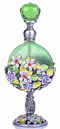 Metall-luftbefeuchter (YUFENG 7 ml Retro Vintage Graven Metall Blume Glas leer Behälter nachfüllbar Geschenk Kristall Cluster Parfüm Flasche Home Decor)