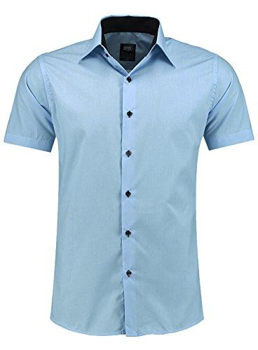 Jeel Herren-Hemd – Slim-Fit – Bügelleicht – Business, Hochzeit, Freizeit – Kurzarm-Hemd für Männer 105 Hellblau S