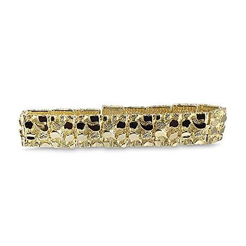 Neue 14K Gold 12mm 20,3cm schwere Nugget Hip Hop Bling Armband