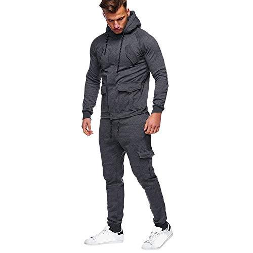 CICIYONER Männer Sport Trainingsanzug Oben+ Hose, Herren Herbst Winter Tasche Sweatshirt Oben Hose...