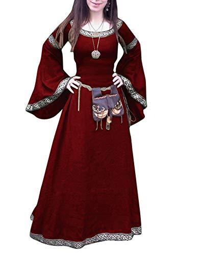 Damen Retro Lace Up Mittelalterliche Königin Kleid Langarm Große Trompetenärmel Maxi Kleid Party Kostüm Rot M