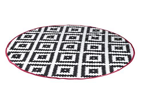 Bo-Camp Urban Outdoor Chill Matter Teppich, rund, Durchmesser 200 cm, Schwarz/Weiß