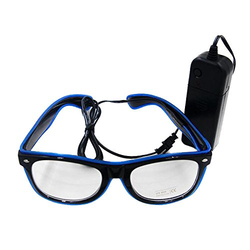 Ake EL Wire Brille LED Leuchten Flash Sonnenbrille Eyeglasses Soundsteuerung Brille für Ballroom Bar Klub Party -Blue