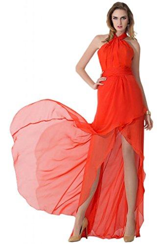 Sunvary Exquisite spalle con Paillette e retro aperto per vestiti da Cocktail con imbottito decorato con strisce di tessuto pieghettato Orange