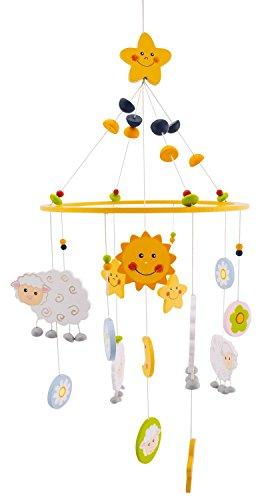 BIECO 3D Baby Mobile Schaf Betty aus robustem Holz, viele bunte Figuren erfreuen und beruhigen als Blickfang am Kinderbett, Wickeltisch oder am Spielbogen. 23931325