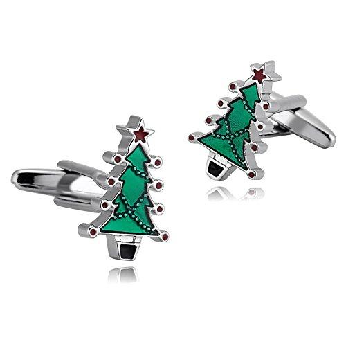 Men 1 Paar Herren Manschettenknöpfe Hochzeit Edelstahl Weihnachtsbaum Hemd Manschettenknopf Silber Cufflinks Für Herren ()