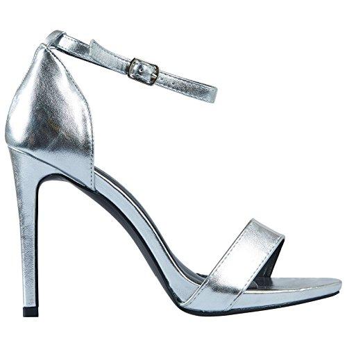ByPublicDemand Everly Femme Talons hauts sandales Argent