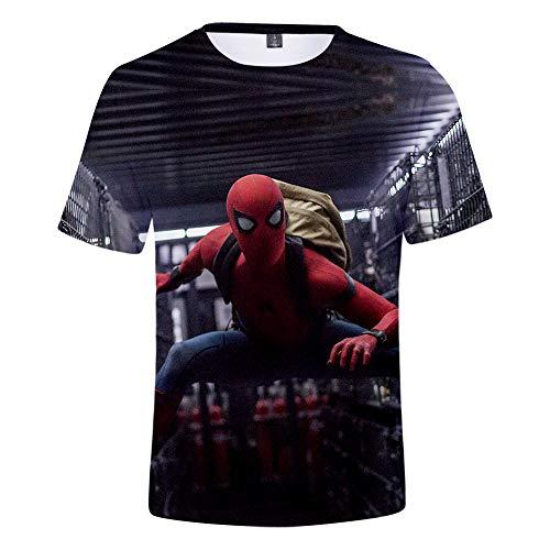Expedition S/s Shirt (WQWQ Männer und Frauen Mode Persönlichkeit T-Shirt Shirt Spider-Man Held Expedition Kurzarm Rundhals Print Fitness Schnell trocknender Schweiß XXL 3XL,A,S)