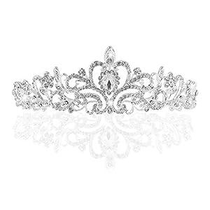 NIPOO Hochzeit Braut Strass Kristall Tiara Krone Geburtstag Party Prinzessin Diadem,Silber