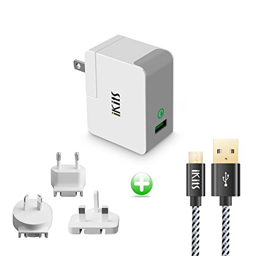 iKits Quick Charge 2.0, ETL Listed Internationale Ladegeräte USB Ladegeräte 1 Port QC2.0 Fast Charge für iPhone/iPad & More US AU UK EU Plug Pack Gray+4ft Micro USB Cable ... International Travel Charger Pack
