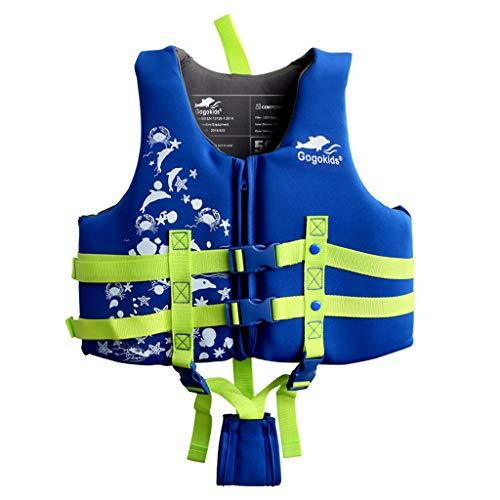 Kinder Schwimmweste Jacke Schwimmanzug - Jungen Mädchen Schwimmhilfen Auftrieb Bademode Einstellbar Schwimmen Lernen Schwimmbad Tauchen Strand Surfen Sicherheit, Blau,Height 110-125cm