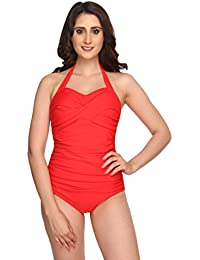 Nidhi Munim Red Rouched Swimsuit For Women