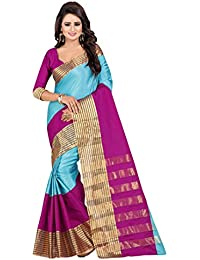 Febo Fashion Sky Blue Cotton Silk Saree With Blouse
