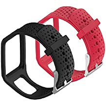 WEINISITE Silicona Ajustable Reemplazo Pulsera para TomTom Runner Multi Sport Smartwatch (negro+rojo)