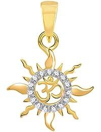 The Marketvilla 925 Sterling Silver Om Surya Lord Sun Ohm Locket in Cz Aum God Pendant for Man & Women