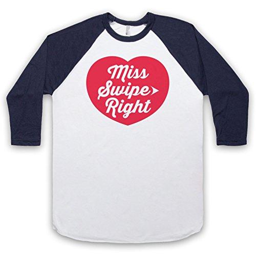 Miss Swipe Right Funny Dating App Slogan 3/4 Hulse Retro Baseball TShirt  Weis Ultramarinblau