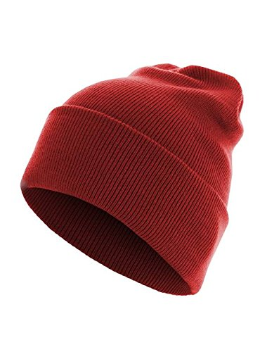 Beanie Basic Flap Long Version red
