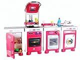 Coloma 90575-18 - Küche, Waschmaschine, Kühlschrank, Geschirrspüler Carmen mit 33 Zuberhörteilen, weiß und rot