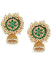 Zaveri Pearls Gold Tone Embellished With Pearls Jhumki Earring For Women-ZPFK7925
