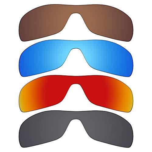 Mryok Polarisierte Ersatzgläser für Oakley Antix Sonnenbrillen - Stealth Black/Fire Red/Ice Blue/Bronze Braun, 4 Paar