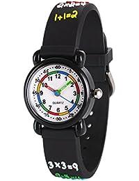 d1a47540b4ba Wolfteeth Reloj de Pulsera de Cuarzo analógico para niños de la Escuela  Niños números Redondos de árabe en…