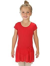 elowel Enfant Fille Justaucorps Robe de Danse Manche Courte Gymnastique  Ballet Danse Leotard Combinaison Bodysuit ( 0c37a674a46