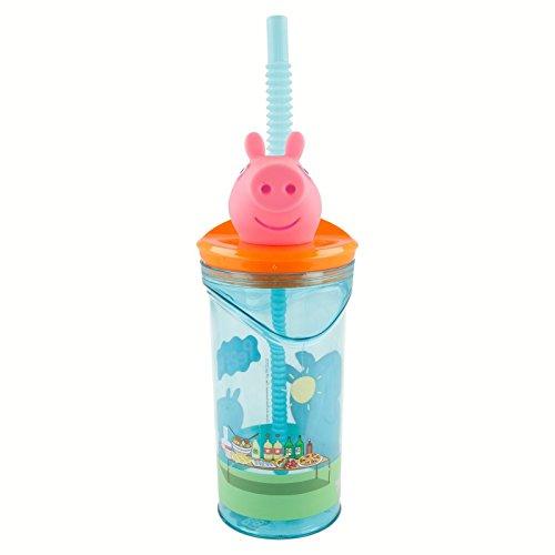 Peppa Pig Vaso plastico con figurita 3D, Tapa y Pajita 350 ML (STOR 48666), Color (Pink, Blue)