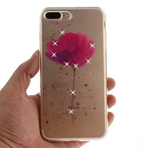 iPhone 7 Plus Coque, Voguecase (Diamant bling)TPU avec Absorption de Choc, Etui Silicone Souple Transparent, Légère / Ajustement Parfait Coque Shell Housse Cover pour Apple iPhone 7 Plus 5.5 (Demi-fle fleur rouge 03