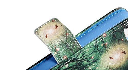 Coque pour iPhone SE 5 5S, Etui pour iPhone 5 5S SE, ISAKEN Peinture Style PU Cuir Flip Magnétique Portefeuille Etui Housse de Protection Coque Étui Case Cover avec Stand Support et Carte de Crédit Sl Arbre Vert