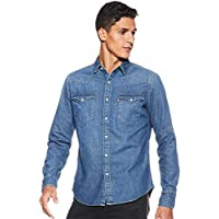 Levi's Men's Solid Slim Fit Casual Shirt (17621-0148_Blue_Large)