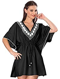 La Leela Ladies Lightweight Rayon Embroidered All In 1 Classic Lounge Casual Dress Bathing Suit Kimono Tunic Top Deep Neck Beachwear Plus Szie Maxi Kaftan Beach Party Pool Side Bikini Cover up