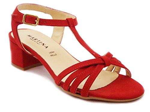 MARTINA Sandale in Fauxveloursleder, mit 4cm Ferse., SOLE rutschfester Gummi, Sommer-68556R Rot
