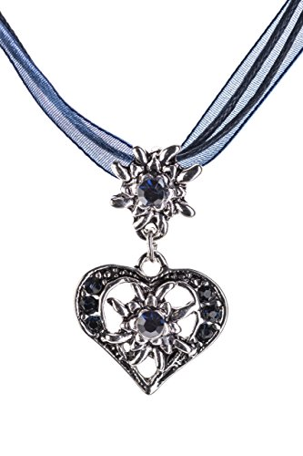Trachtenkette elegantes Herz mit Strass und Edelweiss Anhänger Trachtenschmuck Kette für Dirndl und Lederhose Damen in vielen Farben (Blau)