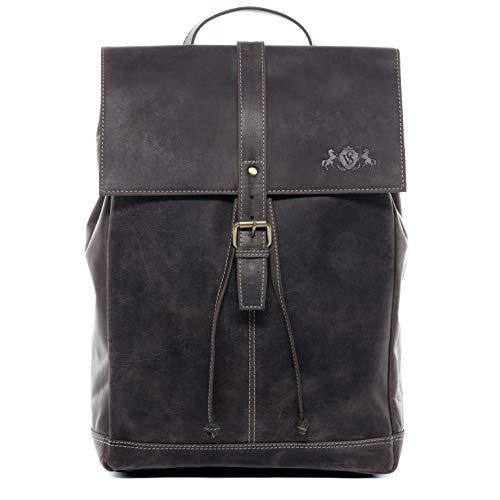SID & VAIN Rucksack Leder Charly groß Backpack Tagesrucksack Stadtrucksack Unisex Lederrucksack mit gepolstertem Gerätefach braun