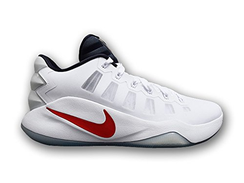 Nike Hyperdunk 2016 Low, espadrilles de basket-ball homme Blanco (White / Dark Obsidian-Bright Crimson)