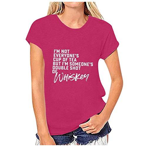 KIMODO Valentinstag Frauen Love and Heart Shaped Gedrucktes Sommer-T-Shirt mit O-Ausschnitt Kurzarm Plus Size Sweatshirt Tops (F-Hot Pink, XXL)