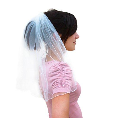 Oblique-Unique® Oblique Unique® Brautschleier mit Haarkamm Einsteckkamm JGA Junggesellinnenabschied Hochzeit Schleier mit weißen Perlen