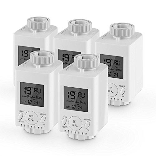Duramaxx HT-31-5 Heizkörperthermostate 5er Set Heizungsthermostat (5x Heizregler inkl. Ventil-Adaptern, passend für alle Heizungen, programmierbar, Temperatur-Anzeige, Batterie-Betrieb) weiß