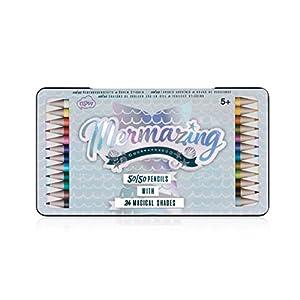 NPW NPW57768 Farbstifte mit Aufkleber set - 24 verschiedene Farben 12 x 50/50 Meerjungfrau Bleistifte