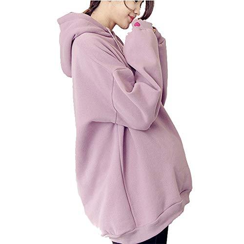 Ropa de maternidad: ropa de maternidad, blusa de otoño, abrigo de moda en la sección larga, gran tamaño, engrosamiento suelto, con capucha, suéter de mujer embarazada, otoño e invierno