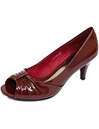 7671d2d093d4 Ladies Burgundy Patent Peep-Toe Slip-On Low Kitten Heel Court Work Shoes  Sizes