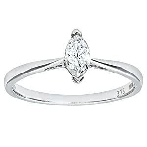 Naava 9 ct White Gold Diamond Engagement Ring With Marquise Diamond Solitaire, 1/4 ct Diamond Weight