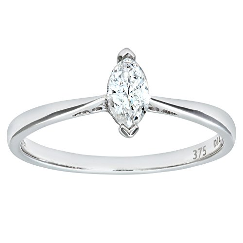 Naava Women's 9 ct White Gold 0.25 ct Marquise Diamond Solitaire Engagement Ring