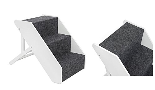 UPP Tiertreppe Deluxe massiv aus FSC Holz 3 stufig - Belastbar bis 70 KG - individuell höhenverstellbare Hundetreppe/Katzentreppe / Hunderampe/Treppe / Stufen (weiß)