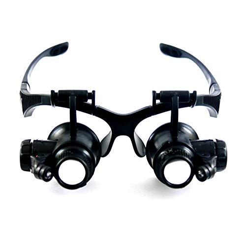 FLYW 2.5X,4X,6X,8X, 10X,15X,20X,25X LED Kopfband Lupenbrille, Lupen Lampe Stirnband Brille Lupen für Lesen, Juweliere und Reparieren, Uhrenmachen, Nähen, Handwerk Austauschbare Linsen 8 X Lupe