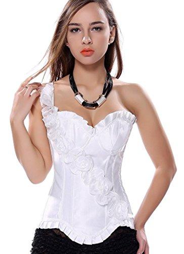 PhilaeEC Sexy Damen Korsett Burleske Schulter Blumen Hochzeit Corsage Bustier Baske Weiß